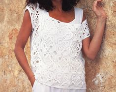 womens CROCHET PATTERN womens crochet motif top lacy crochet top crochet squares top 32-36 inch 4 ply cotton pdf instant download