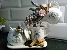 Image result for floating tea cups using coffee beans