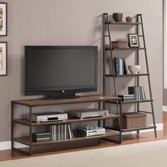 Entertainment center wheels ladder centers large modular wall home industrial stands loft style iron with sta . rustic entertainment center with wheels Bookshelves With Tv, Ladder Bookshelf, Bookcase Shelves, Shelving, Pipe Shelves, Wood Cabinet Doors, Loft Stil, Muebles Living, Steel Furniture