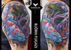 Color Tattoo (Fisch/Echse) by Björn Fugazi - http://www.buntblick-tattoo.de/