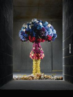 Atomic bomb cloud made of flowers.