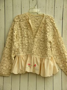 Reconstructed Hand Crocheted Cardigan with by JacketsbyJahne, $78.00