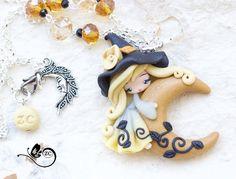 doll de sorcière fimo/polymer clay poupée fée collier / / création/tzigane / / halloween septembre