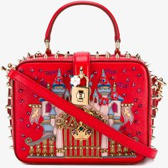 Dolce & Gabbana Castle Spiked Leather Bag ($2,385) ❤ liked on Polyvore featuring bags, handbags, shoulder bags, shoulder handbags, leather man bags, leather hand bags, leather purses and handbags shoulder bags