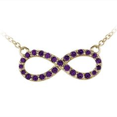 Amethyst Infinity Pendant in 14kt Yellow Gold. Visit our website to view other metal options.