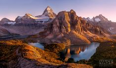255 megapixels! A very high resolution, large-format VAST photo of Mt. Assiniboine and the Canadian Rockies in Autumn at sunset with lakes and trees; fine art mountain landscape photograph created by Tim Shields in Mt. Assiniboine Provincial Park, British Columbia, Canada
