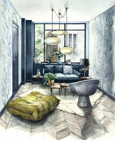 Best Interior Design Websites - All For Decorations Interior Architecture Drawing, Interior Design Renderings, Best Interior Design Websites, Drawing Interior, Architecture Sketchbook, Interior Rendering, Interior Sketch, Contemporary Interior Design, Interior And Exterior