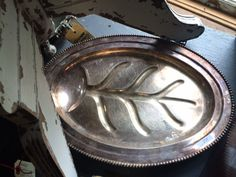 Antique Silver Platted Serving Tray, Heavy Patina, First Picture Only by PaintedLadyAntiques on Etsy
