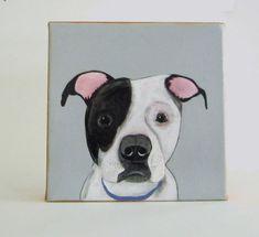 Custom Dog Painting Pet Portrait 8x8 Original Art Personalized Puppy Modern Canvas gray black red tile studio