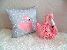 Coussin carré motif flamant rose