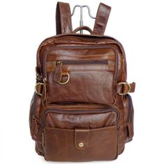 Retro Leather Backpacks Men's Leisure Backpack Leather Messenger Bag Travel Leather Bags on Etsy, $96.00