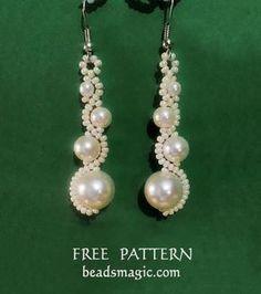 Free pattern for beaded earrings White Moon U need: seed beads 11/0 pearls 4mm, 6mm,
