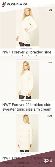 NWT forever 21 braided side sweater tunic S/M Longline knit sweater woven zigzag accent along one side. Long sleeves, high neckline and ribbed trim. 100% acrylic. Model is 5'7.5 and wearing a s/m. Full length 30in., chest 38, waist 36, sleeve length 24in. Beautiful braid detail sweater tunic; Comfortable and stretchy. NWT.  Measurements and product details in 4th photo. Thanks for looking and please ask all questions prior to purchase. Forever 21 Sweaters Crew & Scoop Necks