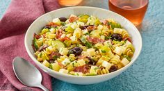 Put this recipe on your picnic go-to list. Spice up your pasta salad by adding flavor-filled Italian cheeses like provolone and fontina. Pasta Salad Recipes, Soup Recipes, Cooking Recipes, Recipies, Spinach Stuffed Mushrooms, Stuffed Peppers, Pickled Pepperoncini, Wisconsin Cheese, Pasta Salad Italian