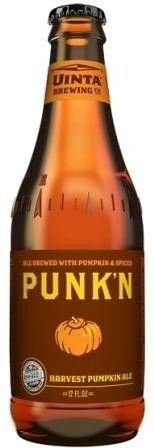 Cerveja Punk'n Harvest Pumpkin Ale, estilo Pumpkin Ale, produzida por Uinta Brewing Company, Estados Unidos. 4% ABV de álcool.