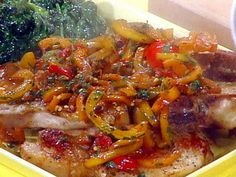Get Pork Chops with Sweet and Hot Peppers Recipe from Food Network