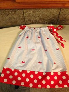 Pillowcase Dress with Crab Seersucker and Red Polka Dot - Sizes 6 months - size 14