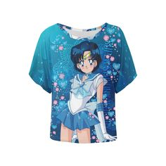 Sailor Mercury Women's Batwing-Sleeved Blouse T shirt (Model T43)