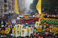 The People's Climate March in Manhattan was a spectacle even for a city known for doing things big, and it was joined, in solidarity, by demonstrations on Sunday across the globe, from Paris to Papua New Guinea. New York Times, Ny Times, Climate Adaptation, Columbus Circle, How To Make Banners, Happy May, Global Warming, Embedded Image Permalink, Mother Earth