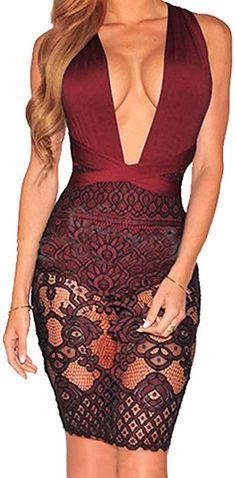 sexycherry Women Boho Bodycon Sexy Lace Floral Halter Strap Deep V Neck  Evening Club Mini Dress 7a2ad4048