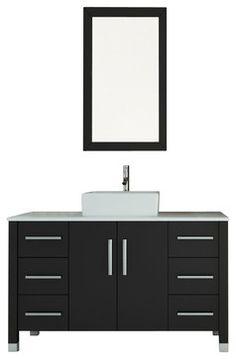 Grand Crater Single Vessel Sink Modern Bathroom Vanity With Stone Top  Modern Bathroom Vanities And Sink