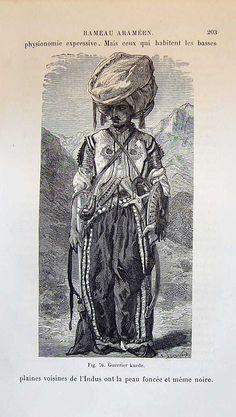 Kurdish Warrior, antique Print, 1880.