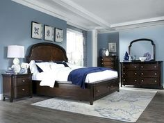 Shop Langham Place Traditional Warm Chestnut Walnut Wood Master Bedroom Set with great price, The Classy Home Furniture has the best selection of to choose from Dark Bedroom Furniture, Walnut Bedroom, Bedroom Paint Colors Master, Bedroom Decor On A Budget, Blue Master Bedroom, Master Bedrooms Decor, Master Bedroom Set, Dark Furniture, Master Bedroom Colors
