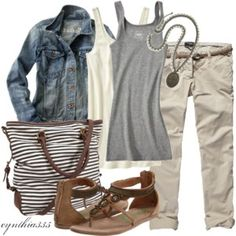like the layers, sandals with capri pants. I like the jean jacket with color scheme