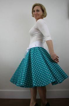 Rockabilly skirt, turquoise polka dot skirt, summer skirt, 1950s skirt, women skirt, full circle skirt, elastic waist skirt, knee length