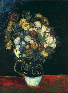 Still Life Vase with Zinnias | Vincent Van Gogh | oil painting #vangoghpaintings