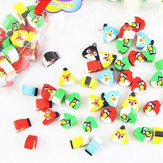 Mini Angry Birds Erasers - 40 Pack
