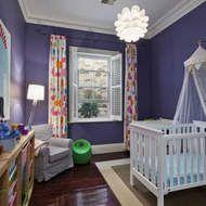 cool curtains; Marimekko print; purple walls and mod lighting