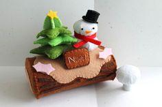 Tronco muñeco de nieve Navidad