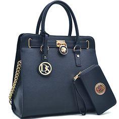 MMK collection Women Fashion Pad-lock Satchel handbags with wallet~Designer Purse for Women ~Multi Pocket ~ Perfect Women Purse and wallet~ Beautiful Designer Handbag Set
