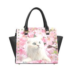 Cat and Flowers Rivet Shoulder Handbag. FREE Shipping. #artsadd #bags #cats