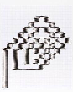 Tauba Auerbach - Ligature Drawing, 8 June 2018 Tauba Auerbach, It Works, Mosaic, June, Drawings, Tattoo, Patterns, Art, Block Prints