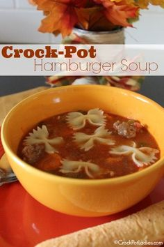 Crock-Pot Hamburger Soup - brown ground beef.  Chop onion, carrots, celery.  Add all ingredients to crockpot including diced tomatoes, beef base, oregano, salt, pepper, garlic and Worcestershire sauce.  Cook for 5 hours.  Cook pasta and add before serving.