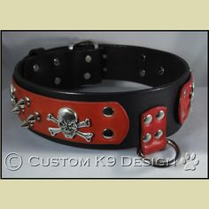 """The """"Jolly Roger"""" Wide Leather Dog Collar Jolly Roger, Leather Dog Collars, Belt, Dogs, Accessories, Dog, Belts, Pet Dogs, Doggies"""