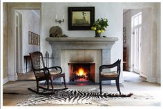 Cultured Home --- Karoo house Cape Dutch, Brass Bed, Single Chair, Coffee Table Books, Hearth, Interior Decorating, Contemporary, Fireplaces, Design