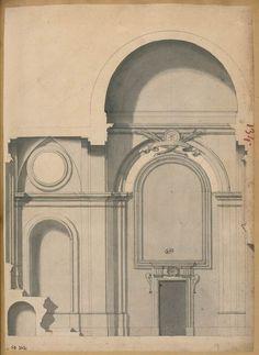 [Copie du projet de C. Fontana : coupe de la chapelle Albani de l'église St Sebastien hors les murs]   Les Arts décoratifs
