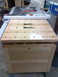 Recently finished mobile tool chest. Solid Rock Maple top and sides stiles with MDF Maple panels. The design from Lee Valley was modified to suit my table saw and nomadic work environment. As I...