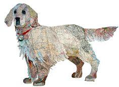 """Peter Clark """"paints"""" with maps / dog art / cut-paper art"""
