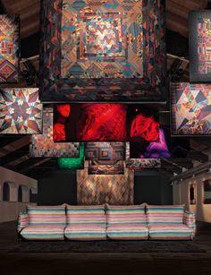 TOP 4 sofa and cushion multicolour stripe printed velvet MissoniHome 2016 collection