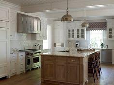 Suzie: Phoebe Howard - Gorgeous two-tone kitchen design with wire brushed oak kitchen island, ...