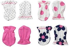 Gerber Baby-Girls Mittens Flowers 0-3 Months (Pack of 4)