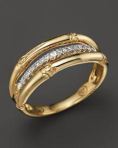 John Hardy Bamboo 18K Yellow Gold Diamond Pavé Ring | Bloomingdale's