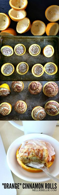 "Make cinnamon rolls in an orange for a real ""Orange Cinnamon Rolls Brunch Recipes, Breakfast Recipes, Dessert Recipes, What's For Breakfast, Christmas Breakfast, Good Food, Yummy Food, Snacks, Cupcakes"