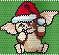Gizmo (from Gremlins) in a Santa Hat (Multi/Brick Stitch Pattern)