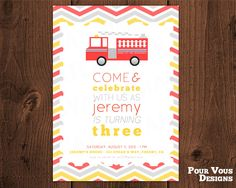 "Firetruck Birthday Invitation - Personalized & Printable - 5"" x 7"". $10.00 USD, via Etsy."