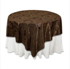 Chocolate flocking table cover.